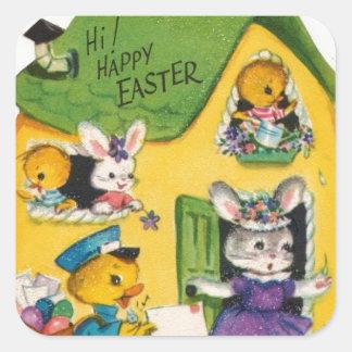 Sticker Carré animaux heureux vintages de Pâques des années 1950