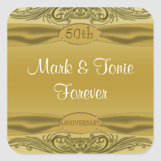 Sticker Carré Anniversaire de mariage d'or de rouleaux