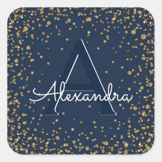 Sticker Carré Anniversaire de monogramme de confettis de bleu