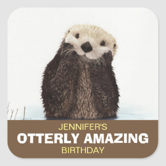 Sticker Carré Anniversaire extraordinaire d'Otterly de loutre