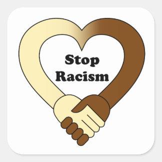 Sticker Carré Anti logo de poignée de main de racisme