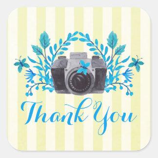 Sticker Carré Appareil-photo avec le Merci de feuille bleu et de
