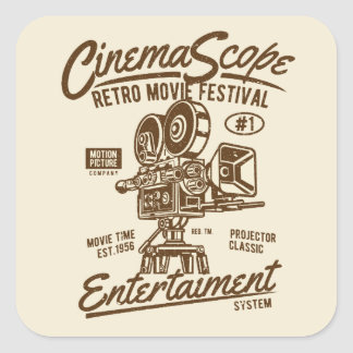 Sticker Carré Appareil-photo classique Hollyw de Hollywood de