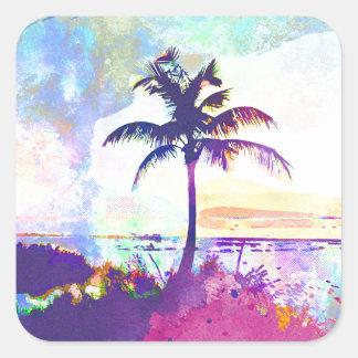 Sticker Carré Aquarelle abstraite - coucher du soleil I de plage