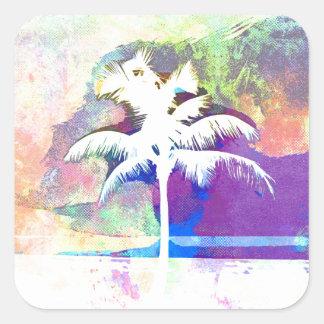 Sticker Carré Aquarelle abstraite - coucher du soleil II de
