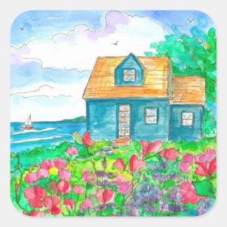 Sticker Carré Aquarelle de navigation de cottage de bord de la