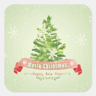 Sticker Carré Aquarelle de Noël | - arbre de bonne année