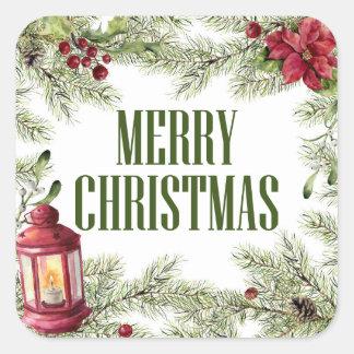 Sticker Carré Aquarelle de Noël   - cadre de houx et de bougie