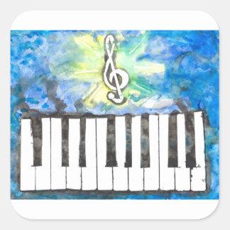 Sticker Carré Aquarelle de piano