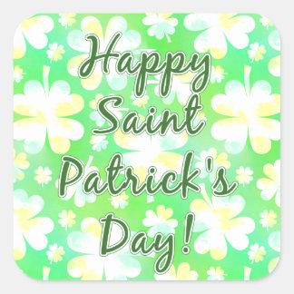Sticker Carré Aquarelle de shamrocks du jour de St Patrick