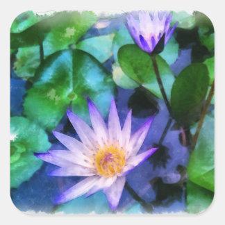 Sticker Carré Aquarelle pourpre de Lotus