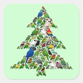 Sticker Carré Arbre de Noël de perroquet