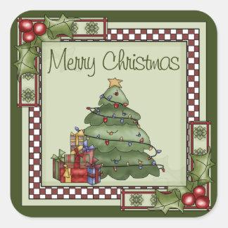 Sticker Carré Arbre de Noël mignon et Noël de cadeaux Joyeux
