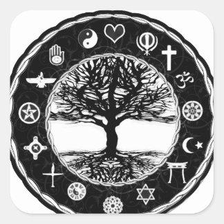Sticker Carré Arbre de paix de religions du monde de la vie