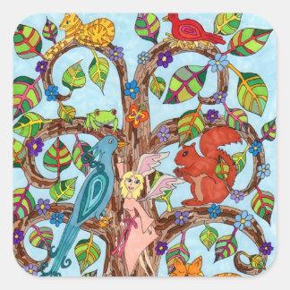 Sticker Carré Arbre de printemps de la vie