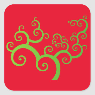 Sticker Carré arbre des courbes