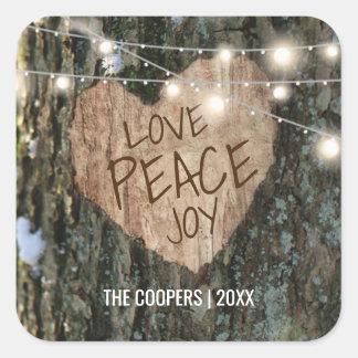 Sticker Carré Arbre d'hiver de Noël avec joie de paix d'amour