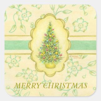 Sticker Carré Arbre élégant d'autocollants de Noël