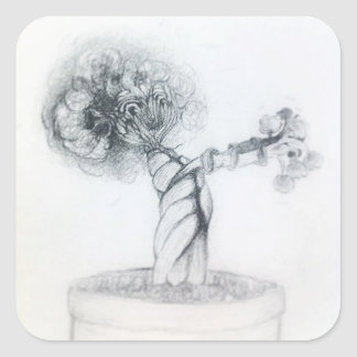 Sticker Carré arbre mignon