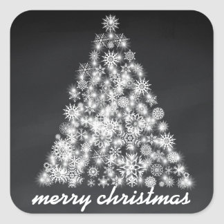Sticker Carré Arbre scintillant de flocon de neige de Noël de