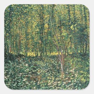 Sticker Carré Arbres de Vincent van Gogh | et broussaille, 1887