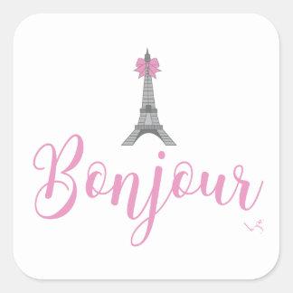 Sticker Carré Arc de tour de Bonjour-Eiffel unique