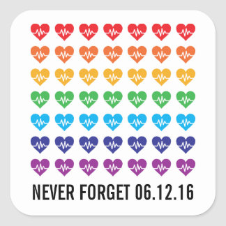 Sticker Carré Arc-en-ciel fort de coeurs de l'impulsion 49