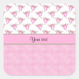 Sticker Carré Arcs romantiques de rose et damassé assez rose