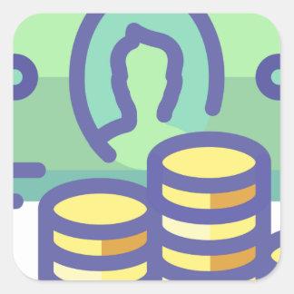 Sticker Carré Argent d'économie
