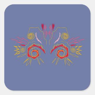 Sticker Carré Argent élégant de rouge de henné de conception