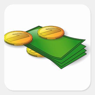 Sticker Carré Argent et pièces de monnaie