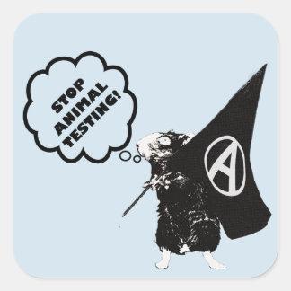 Sticker Carré Arrêtez l'expérimentation animale