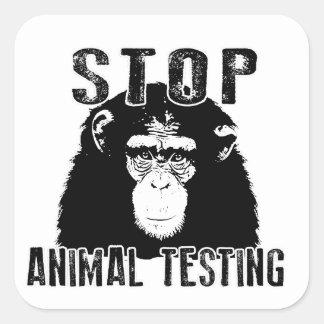 Sticker Carré Arrêtez l'expérimentation animale - chimpanzé