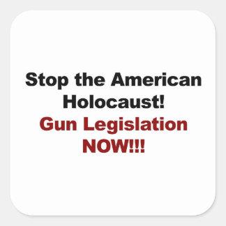 Sticker Carré Arrêtez l'holocauste américain ! Contrôle des
