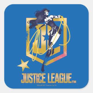 Sticker Carré Art de bruit de logo de la femme de merveille de