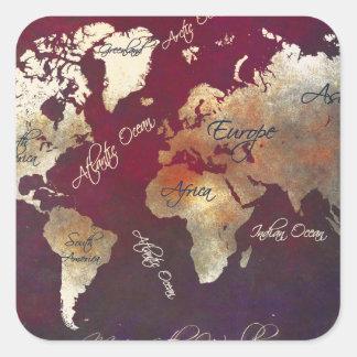 Sticker Carré art de carte du monde