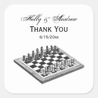Sticker Carré Art de cru d'échiquier et de pièces d'échecs