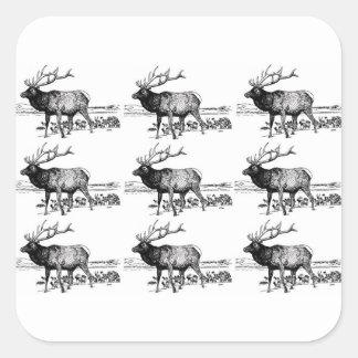 Sticker Carré art de troupeau d'élans ouais