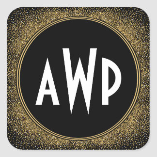 Sticker Carré Art déco de noir et de feuille d'or épousant des