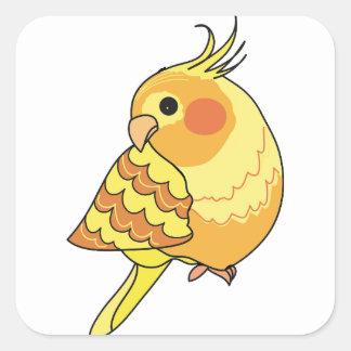 Sticker Carré Art d'oiseau de Cockatiel