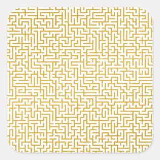 Sticker Carré Art moderne de labyrinthe élégant - or et blanc