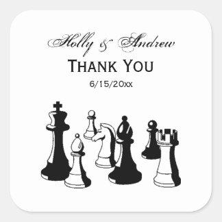Sticker Carré Art vintage #2 de pièces d'échecs