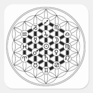 Sticker Carré Astro~Flora : Fleur de Vie & Astrologie