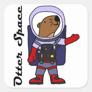 Sticker Carré Astronaute drôle de loutre de mer dans la bande