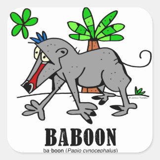 Sticker Carré Babouin par Lorenzo