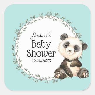 Sticker Carré Baby shower adorable d'ours panda