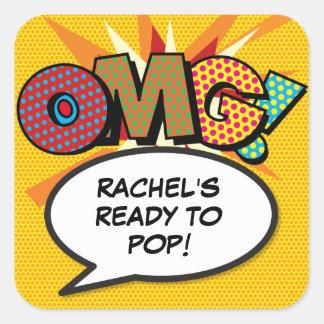 Sticker Carré Baby shower de la bande dessinée OMG