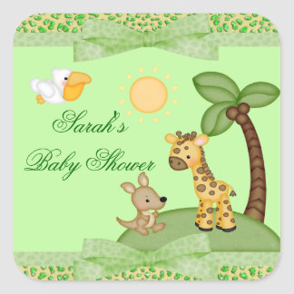 Sticker Carré Baby shower d'impression de guépard d'animaux de