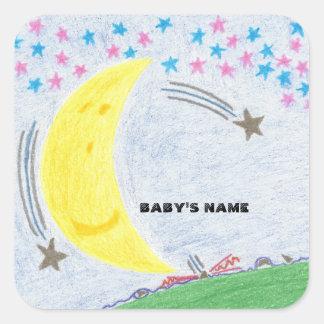 Sticker Carré Baby shower éclairé par la lune de rêves ou