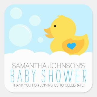 Sticker Carré Baby shower mignon en caoutchouc de garçon de bain